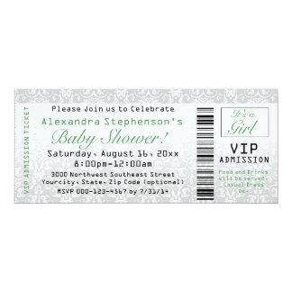 Green/White Baby Shower Ticket Invitations