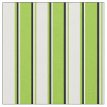 [ Thumbnail: Green, White & Black Colored Lined Pattern Fabric ]