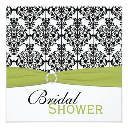 Green, White, Black Damask Bridal Shower Invite