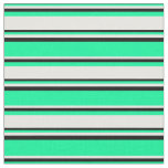 [ Thumbnail: Green, White & Black Striped/Lined Pattern Fabric ]