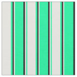 [ Thumbnail: Green, White & Black Stripes Pattern Fabric ]