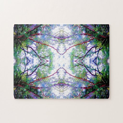 Green White Blue Symmetrical Abstract Art Design Jigsaw Puzzles