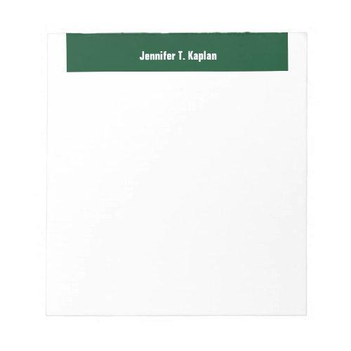 Green White Bold Name Plain Professional Modern Notepad
