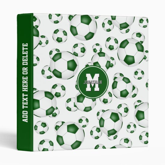 green white boys girls school colors soccer ball 3 ring binder