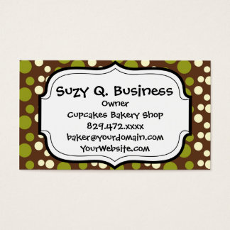 Green White Brown Polka Dots Pattern Business Card