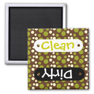 Green White Brown Polka Dots Pattern Refrigerator Magnets