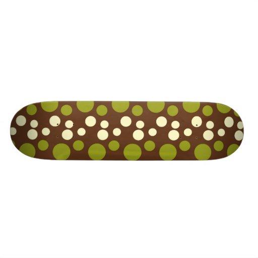 Green White Brown Polka Dots Pattern Custom Skate Board
