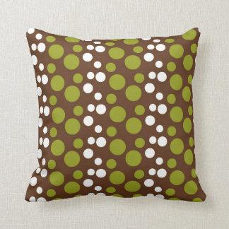 Green White Brown Polka Dots Pattern Throw Pillow