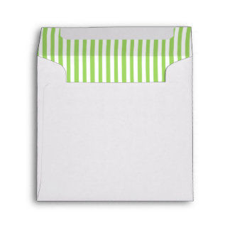 Green, White, Brown Striped Linen Envelope