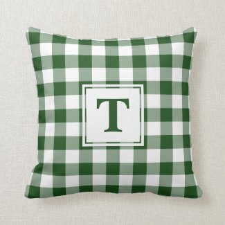 Green White Buffalo Check Pattern Custom Monogram Throw Pillow