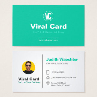 "Green White Business Card Standard, 3.5"" x 2.0"""