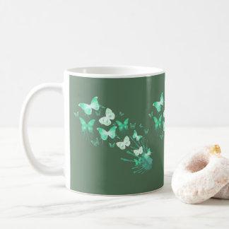 Green White Butterflies Watercolor Art Coffee Mug