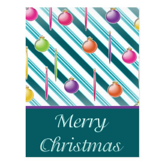 Green,White Candy Cane Christmas Ornaments Postcard
