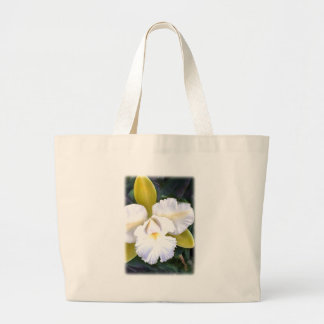 Green & White Cattleya Orchid Large Tote Bag