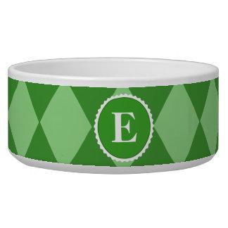 Green White Check Monogram Pattern Bowl