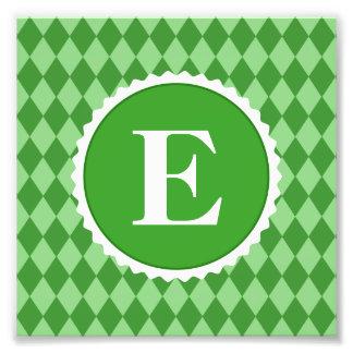 Green White Check Monogram Pattern Photo Print