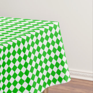 Green White Checkered Cool Cloth Tablecloth