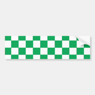 Green&White Checkers Bumper Sticker