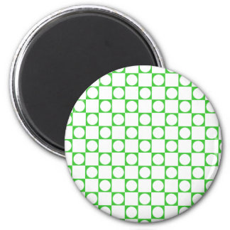 Green White Checkers Circles Fridge Magnets