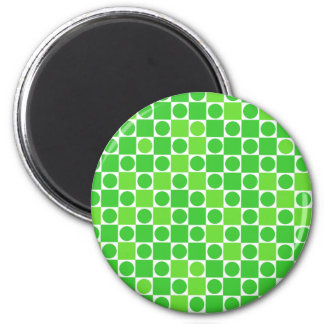 Green White Checkers Circles Magnets