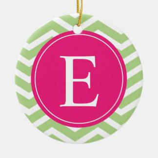 Green White Chevron Bright Pink Monogram Ceramic Ornament