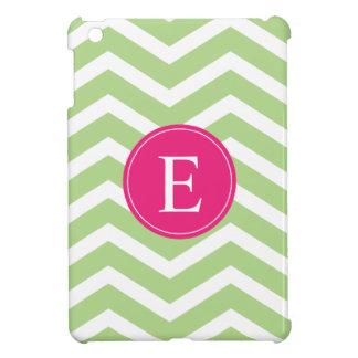 Green White Chevron Bright Pink Monogram Case For The iPad Mini