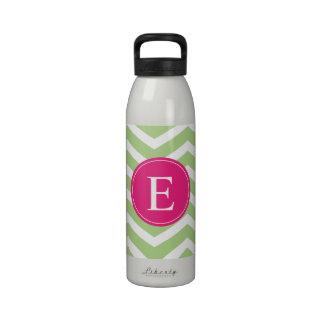 Green White Chevron Bright Pink Monogram Reusable Water Bottle