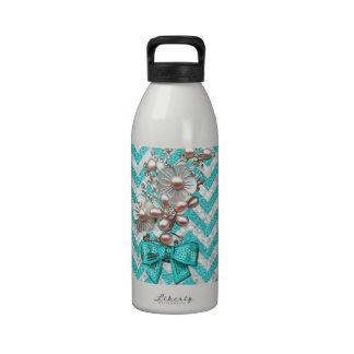 Green White Chevron Flower Glitter Photo Print Water Bottles