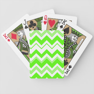Green White Chevron Pattern Bicycle Playing Cards