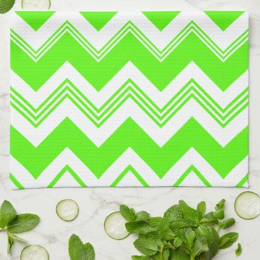 Green White Chevron Pattern Hand Towels Zazzle
