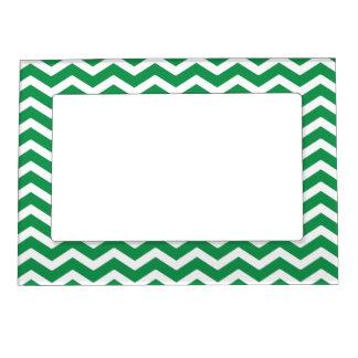 Green White Chevron Pattern Magnetic Frame