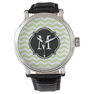 Green & White Chevron Pattern Watches