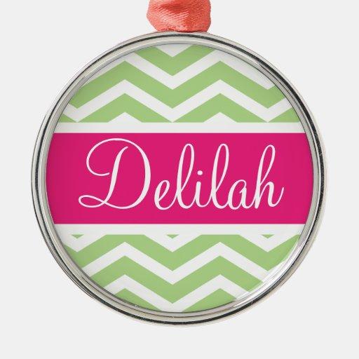 Green White Chevron Pink Name Christmas Ornament