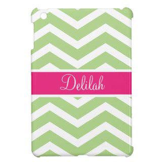 Green White Chevron Pink Name Case For The iPad Mini