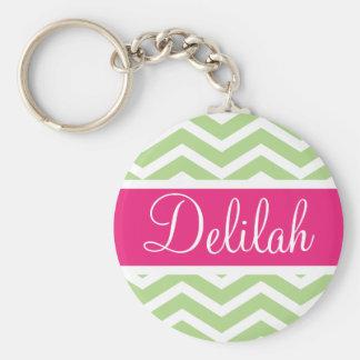 Green White Chevron Pink Name Keychain