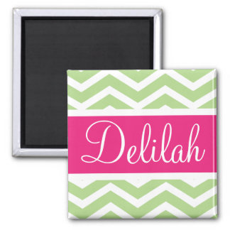 Green White Chevron Pink Name Magnet
