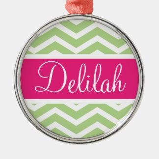 Green White Chevron Pink Name Metal Ornament