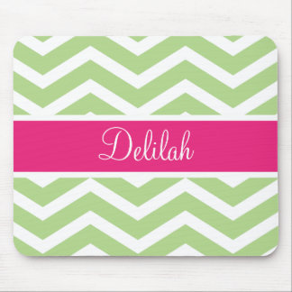 Green White Chevron Pink Name Mouse Pad