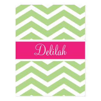 Green White Chevron Pink Name Postcard