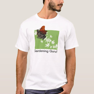 Green white clematis and cat fairy design T-Shirt