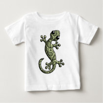 Green White Climbing Gecko Lizard Baby T-Shirt