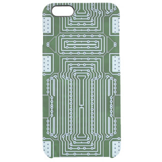 Green White Computer Circuit Board Lines Clear iPhone 6 Plus Case