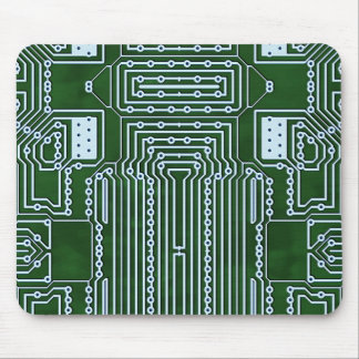 Green White Computer Circuit Board Lines Mouse Pad