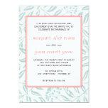 """Green/White/Coral Wedding Invitation 5"""" X 7"""" Invitation Card"""