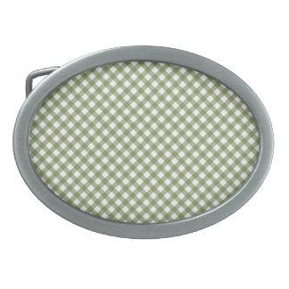 Green White Criss Cross Diamond Argyle Pattern Oval Belt Buckle