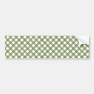 Green White Criss Cross Diamond Argyle Pattern Car Bumper Sticker