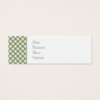 Green White Criss Cross Diamond Argyle Pattern Mini Business Card