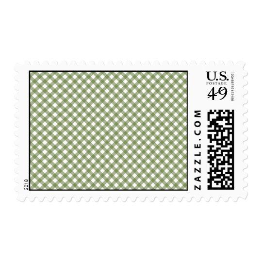 Green White Criss Cross Diamond Argyle Pattern Postage