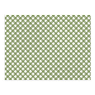 Green White Criss Cross Diamond Argyle Pattern Postcard