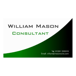 Green White Curved Professional Business Card